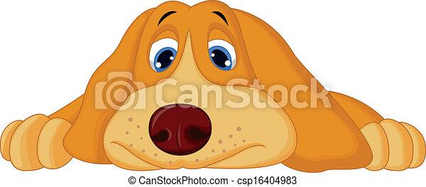 Lindo perro de dibujos animados acostado - csp16404983