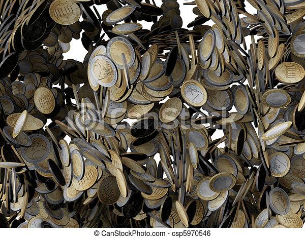 Monedas europeas cayendo - csp5970546