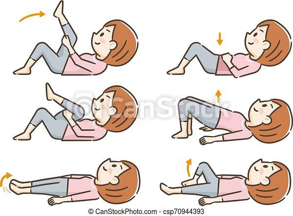 Una joven haciendo ejercicio acostado - csp70944393