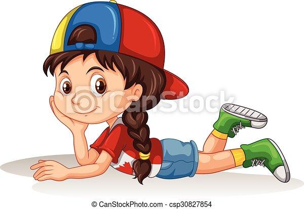 Una niña recostada - csp30827854