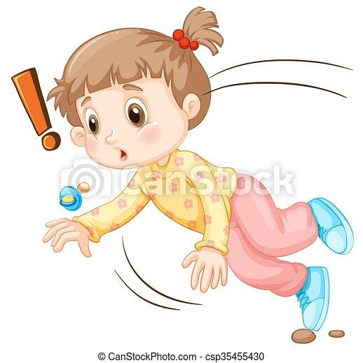 Una niña cayéndose. Una niña cayendo a ilustraciones.