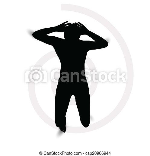 La silueta de un hombre acostado - csp20966944