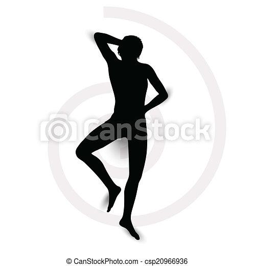 La silueta de un hombre acostado - csp20966936