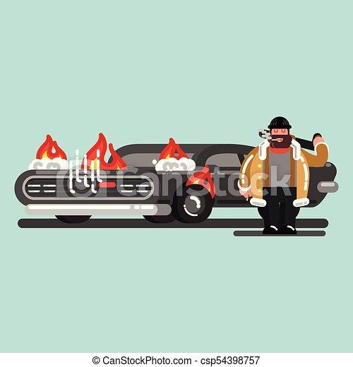 El grandote quemó el auto - csp54398757