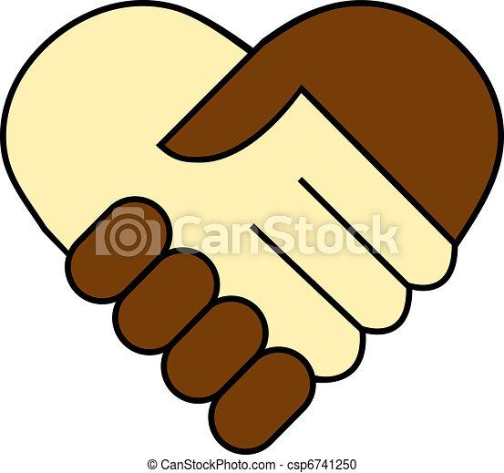 abanar, branca, mão, pretas, entre - csp6741250