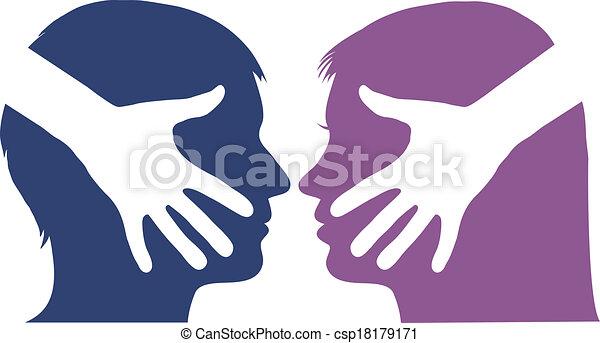 abanar, mulher homem, mão, entre - csp18179171