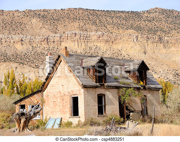 Abandonded Farmhouse in Dying Town - csp4883251