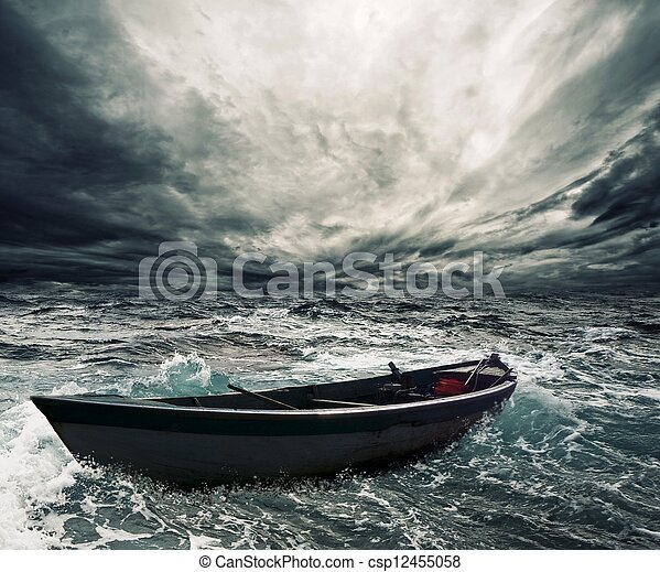 Abandoned boat in stormy sea - csp12455058