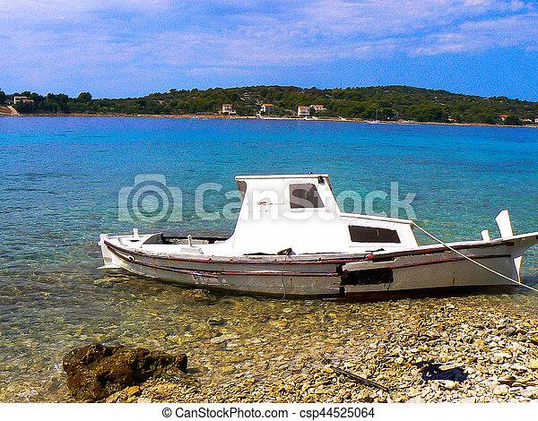 abandoned boat - csp44525064