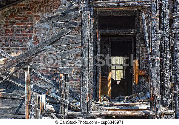 Abandoned burnt house - csp6346971