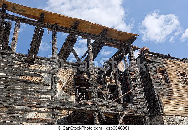Abandoned burnt house - csp6346981
