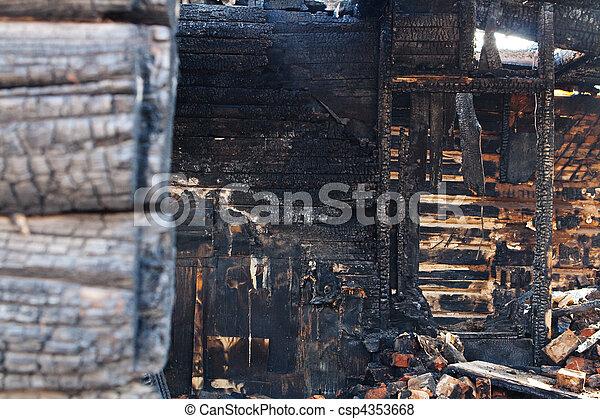 abandoned burnt house - csp4353668