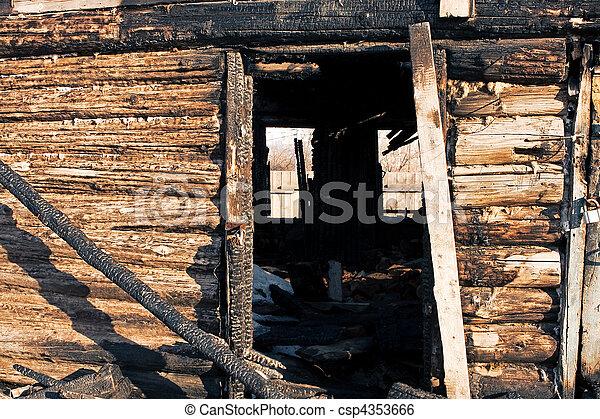 abandoned burnt house - csp4353666