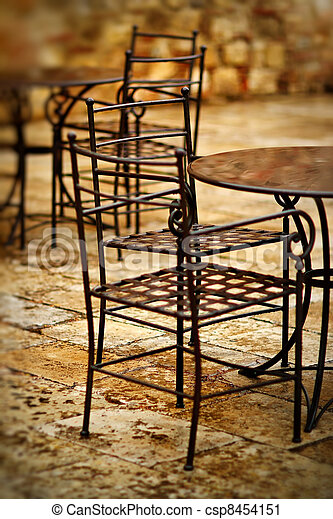 abandoned chair in the restaurant - csp8454151