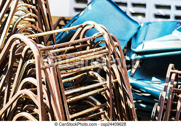 abandoned furniture in soft light - csp24409628
