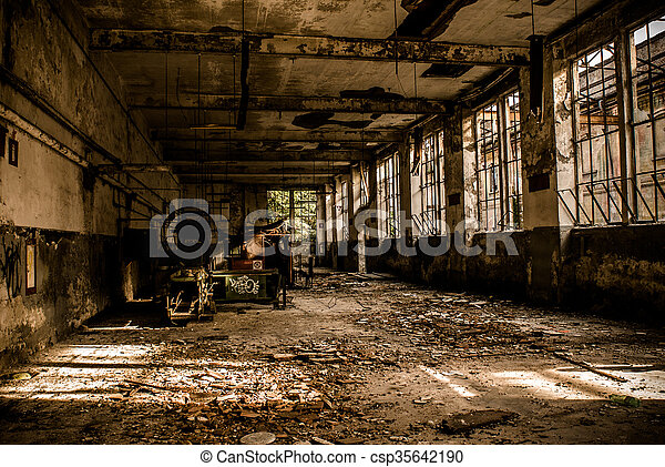 abandoned industrial building - monochrome style image - csp35642190