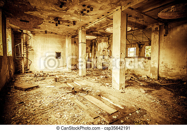 abandoned industrial building - monochrome style image - csp35642191