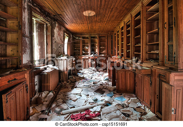 Abandoned library (HDR) - csp15151691