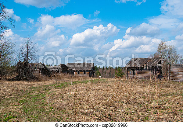 Abandoned village with old houses - csp32819966