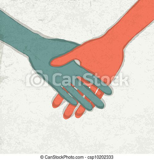 Abatract handshake illustration. Vector, EPS10 - csp10202333