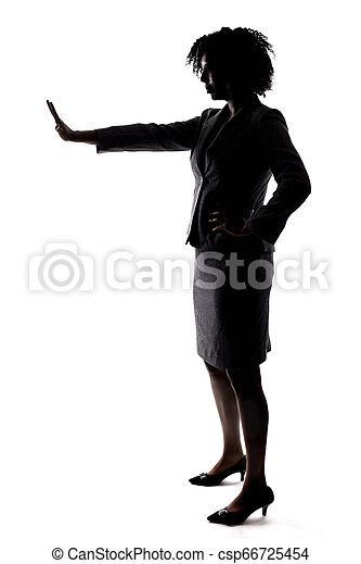 abbahagy, üzletasszony, gesturnig, árnykép, fekete - csp66725454