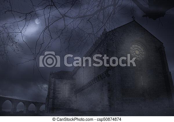 Abbey in a foggy night - csp50874874