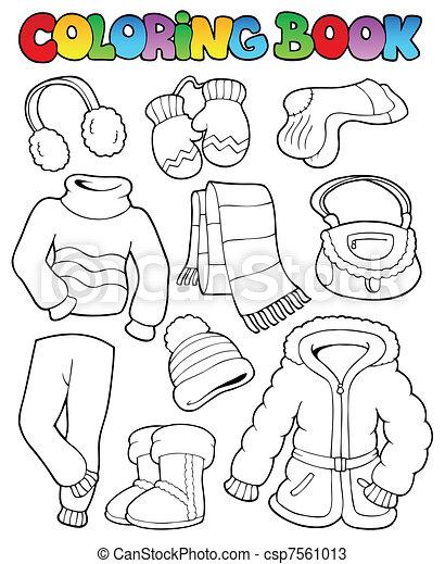 abbigliamento, 1, libro colorante, inverno - csp7561013