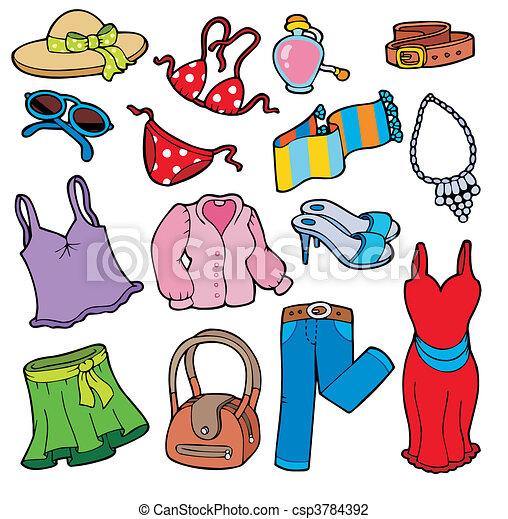 abbigliamento, donna, collezione - csp3784392