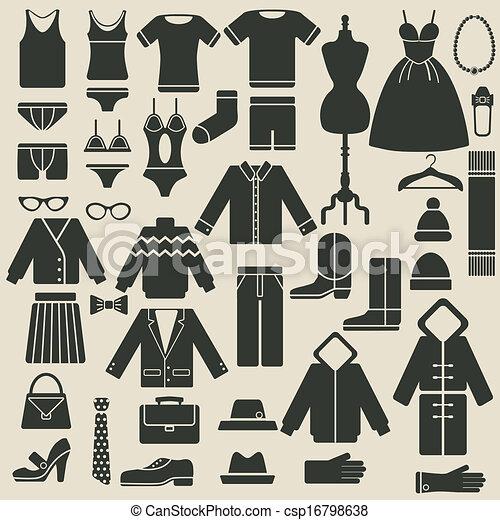 abbigliamento, icone - csp16798638