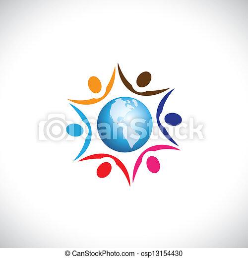 abbildung, lebensunterhalt, multi, frieden, zentrieren, leute, zusammen, global, menschen, gemeinschaft, grafik, harmonie, vertritt, welt, icon., rassisch, beitritt - csp13154430