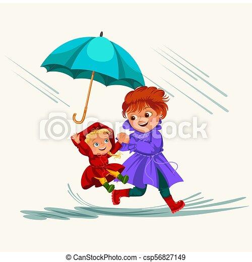 abbildung, regnen, gehen, frau, schirm, jacke, familie, wasserdicht, wolkenhimmel, tropfender , stiefeln, gummi, regentropfen, vektor, regen, mutti, unter, baby, pfützen, m�dchen, hände - csp56827149
