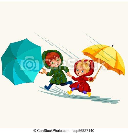 abbildung, regnen, gehen, junge, jacke, schirm, aus, wasserdicht, himmelsgewölbe, tropfender , stiefeln, wasser, gummi, springende , vektor, regen, unter, pfützen, m�dchen, tropfen, kinder - csp56827140