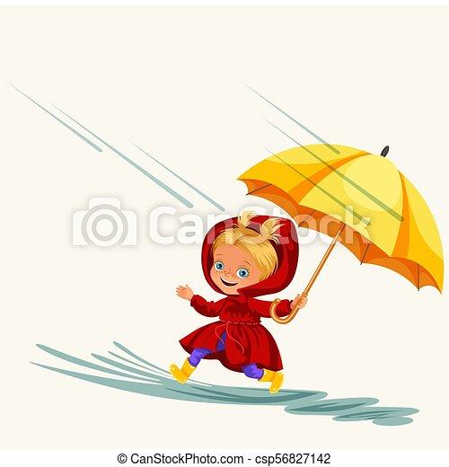 Kinder, die unter Regen stehen, mit einem Regenschirm, Regentropfen, tropfen in Pfützen, regnen Kindermädchen in wasserdichter Jacke und Gummistiefel, die über Wasservektor Illustration springen - csp56827142