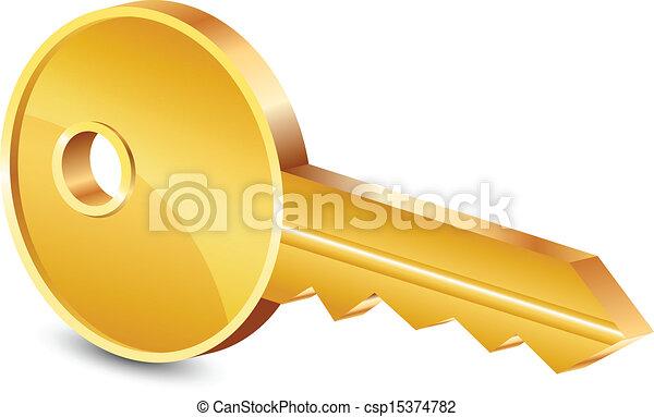 abbildung, vektor, gold schlüssel - csp15374782