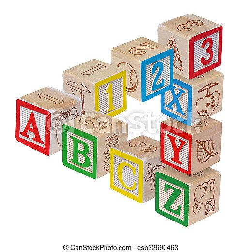 ABC alphabet blocks optical illusion, isolated on white - csp32690463