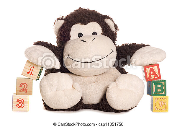 Abc and 123 blocks with soft toy monkey - csp11051750