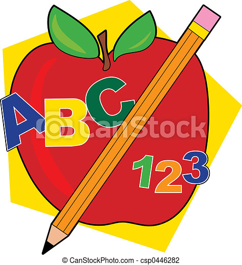 abc apple apple with a pencil and abcs clip art search rh canstockphoto com abc clip art letters alphabet abc clipart images