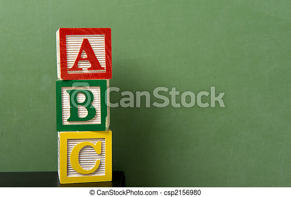 ABC Blocks in front of Chalkboard - csp2156980