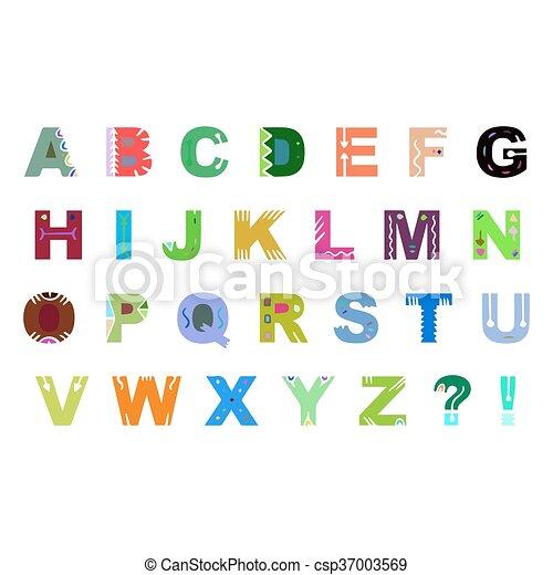 Colorida Mano Vector De Alfabeto Dibujado Aislado En Fondo