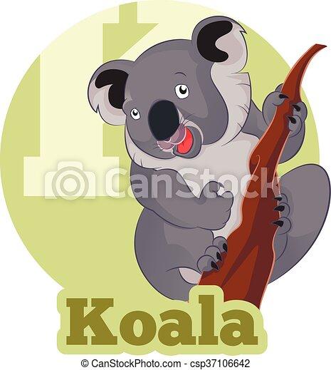 Vettore immagine abc cartone animato koala