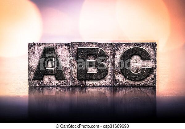 ABC Concept Vintage Letterpress Type - csp31669690