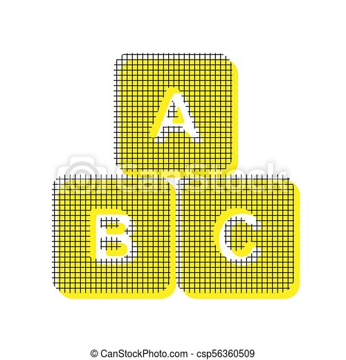 ABC cube sign illustration. Vector. Yellow icon with square patt - csp56360509