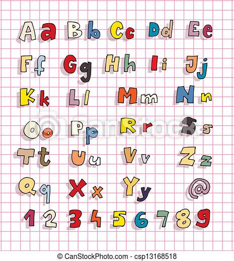 Abc, fett, einfache , alphabet, hand, farben, gezeichnet.... Vektor ...
