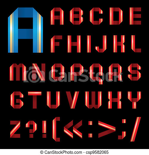 ABC font from coloured paper ribbon - set letters - csp9582065