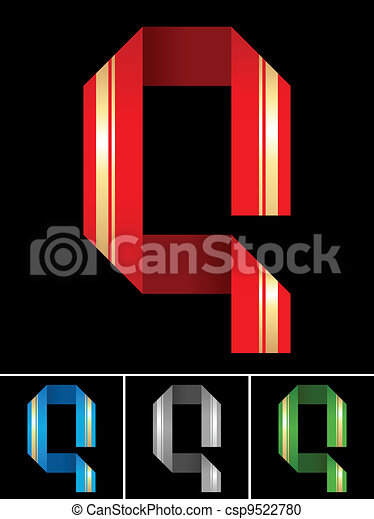 ABC font from coloured set paper ribbon-Latin letter Q - csp9522780