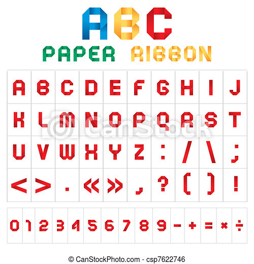 ABC font from paper tape, colored - csp7622746