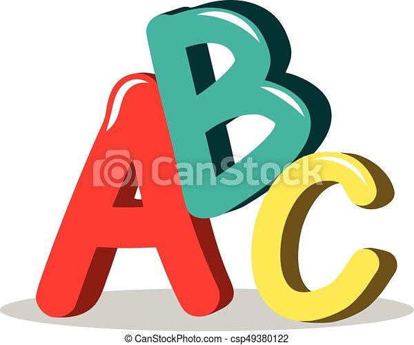 Abc learning symbols isolated....