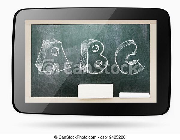 Abc, tablette, tableau noir, intérieur, craie, sketchy, informatique ...