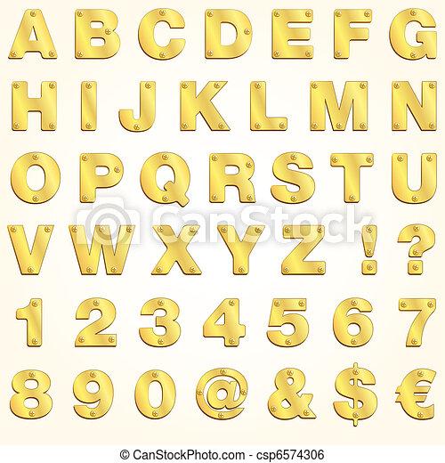 abc, vektor, arany, levél, arany- - csp6574306