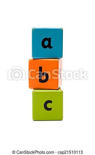 ABC Wooden alphabet blocks isolated on white - csp21510113